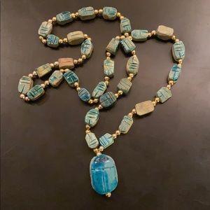 Turquoise Glazed Ceramic Clay Scarab Necklace